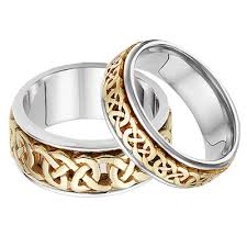 celtic wedding ring sets his and hers celtic wedding band set in 14k two tone gold