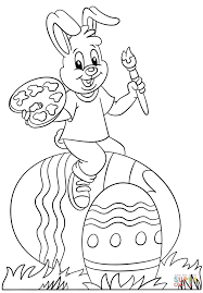 easter bunny painting easter eggs coloring page free printable