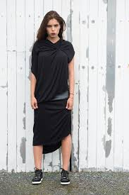 Draped Black Dress Asymmetrical Black Dress Short Loose Sleeveless Tunic