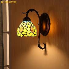 European Bathroom Lighting European Stained Glass Sunflower Wall Lamp Pastoral Warm Mirror