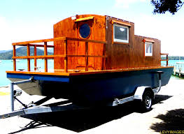Pontoon Boat Design Ideas by Small Houseboats The Flying Tortoise Tiny Houseboat On Wheels
