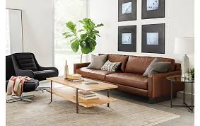 room and board leather sofa hess sofa in lecco cognac modern living room furniture room board
