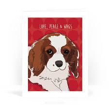 cavalier king charles spaniel card peace wags