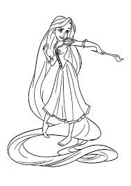 rapunzel with paintbrush tangled colouring page colouring club