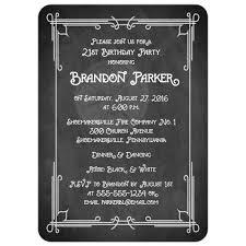 art birthday invitations 21st birthday party photo invitation black and white chalkboard