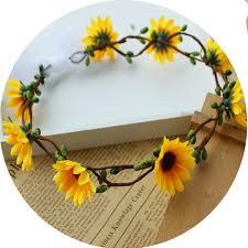 sunflower wreath 16 17cm artificial sunflower wreath headgear headdress wedding