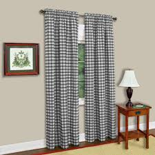 achim semi opaque buffalo check black poly cotton window curtain