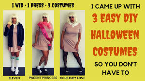 easy diy halloween costumes 1 wig 1 dress 3 costumes youtube