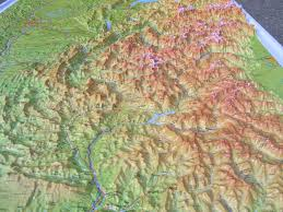 Alps On A Map Raised Relief Map French Alps And Rhone Valley As 3d Map