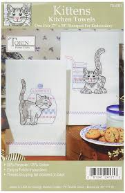 amazon com tobin stamped kitchen towels for embroidery kittens