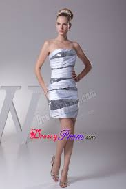 ruched sequins grey and white prom graduation dress
