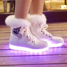 light shoes for women 2015 new high top warm led shoes for women shining color casual