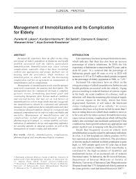 management of immobilization and its complication for elderly pdf