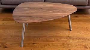 Modern Walnut Coffee Table Walnut Wooden Coffee Table Angled Brushed Metal Legs Uk