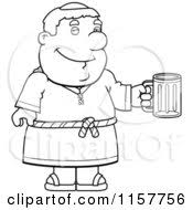 cartoon clipart black white loving chubby monk vector