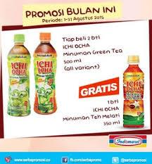 Teh Ichi Oca indomaret promosi bulan ini beli 2 botol teh ichi ocha gratis 1