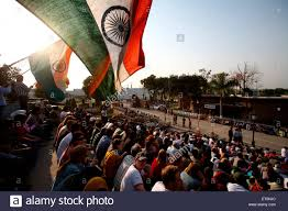 Ceremony Flag Crowds Holding Indian Flag During Changing Of Guard Ceremony At