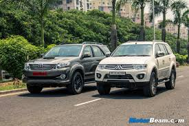 pajero sport mitsubishi mitsubishi pajero sport vs toyota fortuner shootout review