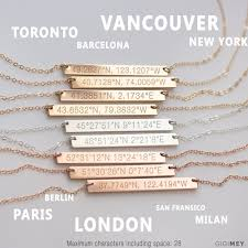 bar necklace personalized coordinates necklace personalized coordinate bar necklace