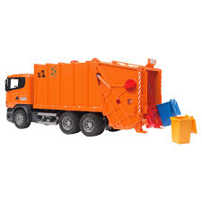 bruder toys logo bruder scania r series garbage truck orange ebay