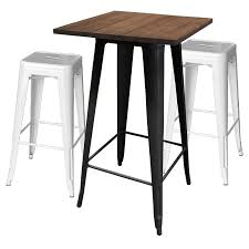 Black Bar Table Tolix Bar Table 80x80 Black Wood Top Tolix Stool 76cm White X2 Jpg
