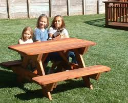 Kids Outdoor Picnic Table Kid Size Wood Picnic Table With Attached Benches Forever Redwood