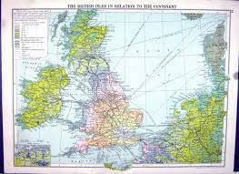 North Sea Map 26 Print Europe Languages Cassell Map 1920 British Isles Ireland