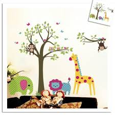 Colorful Tree  Jungle Animals Wall Sticker Nursery Bedroom Wall Art D - Animal wall stickers for kids rooms