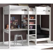 lit en hauteur avec canapé lit mezzanine avec canapé lit nipo38 en pin massif blanc amazon fr