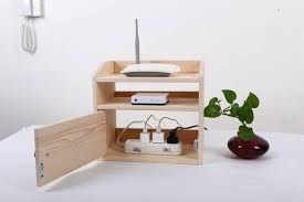 Wire Shelving Desk Wooden Desk Organizer Wifi Router Storage Box Shelf Cable Holder