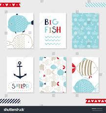set 6 cute creative cards templates stock vector 368822285