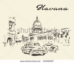 streets of havana with old cars vintage engraved illustration