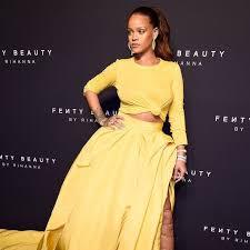 yellow dress rihanna s yellow oscar de la renta dress at fenty beauty