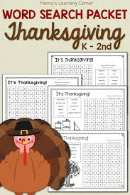 thanksgiving word search packet mamas learning corner