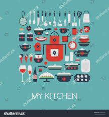 set kitchen utensils food isolated objects stock vector 234297952