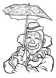 smiling clown under umbrella coloring page color luna