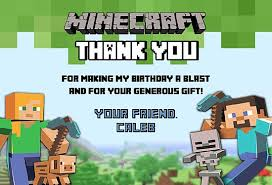 minecraft cards minecraft thank you cards personalized