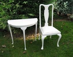 white half moon table white half moon hall table and queen anne style chair unique