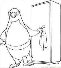 pinguin near the fridge coloring page free home appliances