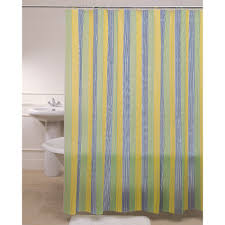 yellow blue green fabric shower curtain on stainless hook of chic