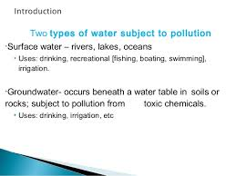 The Location Of The Water Table Is Subject To Change Ppt On Water Pollution For Lpu Students Especially