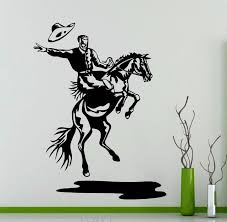 home interior cowboy pictures rodeo wall decal cowboy retro poster horse vinyl sticker home