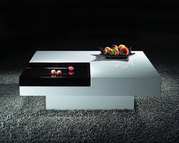 contemporary modern white square table with black tray storage on
