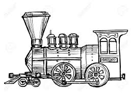 hand drawn sketch cartoon illustration of steam train royalty
