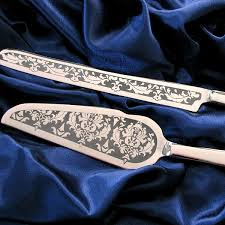 wedding cake knife damask cake server and knife set engraved wedding the wedding