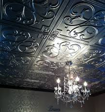ceiling design have a good looking ceiling with elegant faux tin wonderful dark faux tin ceiling tiles with chic chandelier matched with white floral wallpaper for home