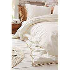 amazon com white pom fringe duvet cover full queen 80inx86in