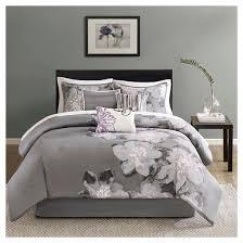 Purple Floral Comforter Set Jasmine 7 Piece Comforter Set Gray Queen Target