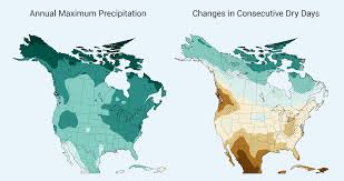 Physical Map Of Canada And The United States by Precipitation Change National Climate Assessment