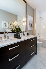 Gray And White Bathroom - espresso double washstand contemporary bathroom atmosphere